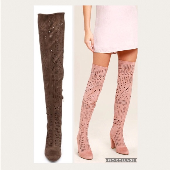 b3dde639112 Wild Diva Amaya Perforated Over the Knee Boots 7.5
